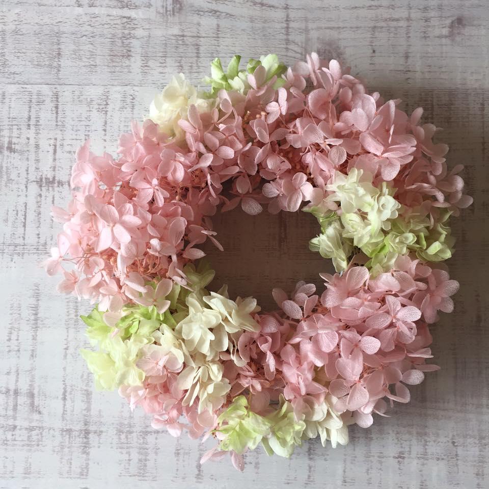 Z-Flower Design+_プリザーブドフラワーのあじさいリース(ピンク)_2016