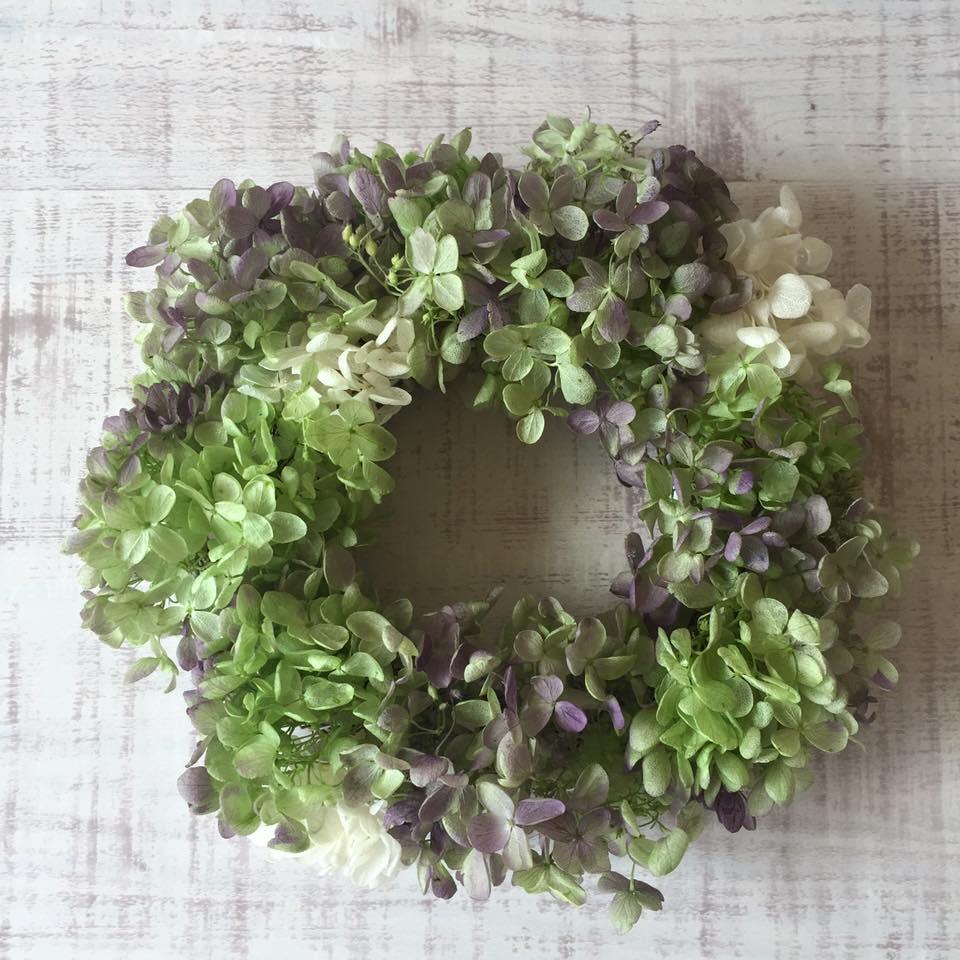 Z-Flower Design+_プリザーブドフラワーのあじさいリース(紫)_2016